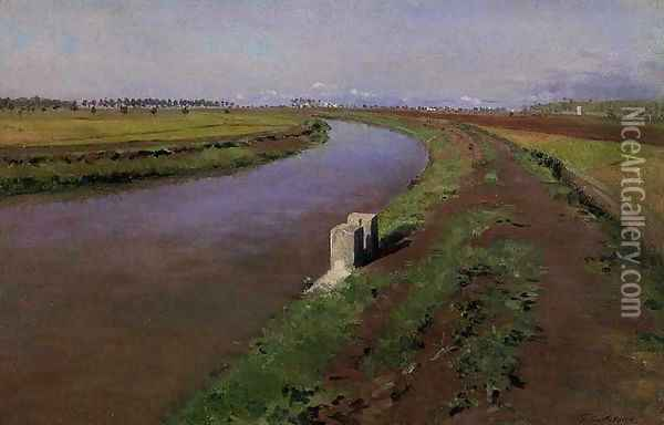 The Banks of a Canal, near Naples Oil Painting - Gustave Caillebotte