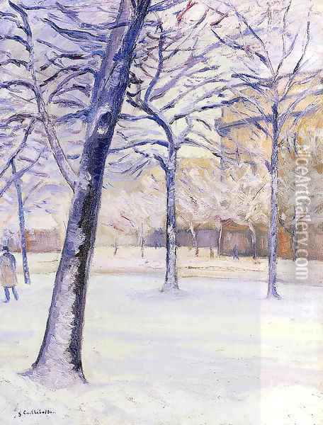Park in the Snow, Paris Oil Painting - Gustave Caillebotte