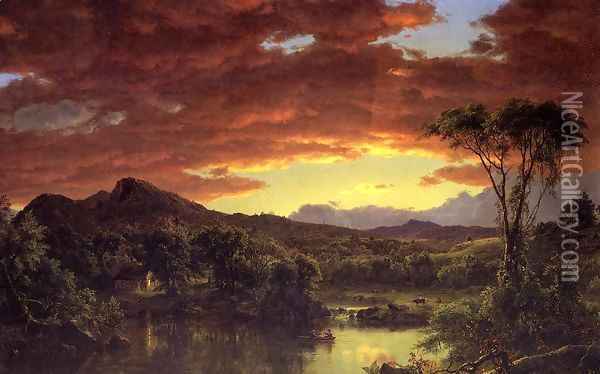 A Country Home Oil Painting - Frederic Edwin Church
