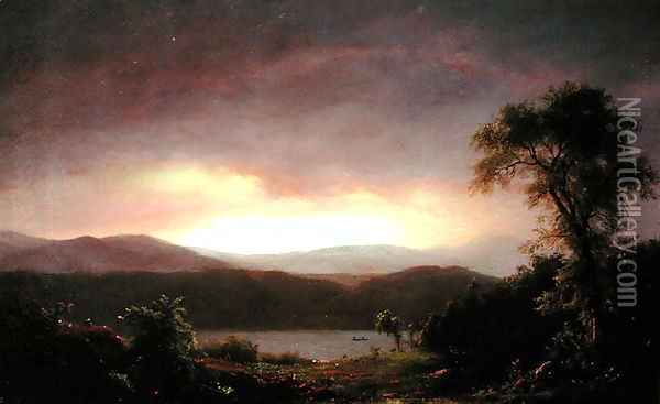 A Catskill Landscape, c.1858-60 Oil Painting - Frederic Edwin Church