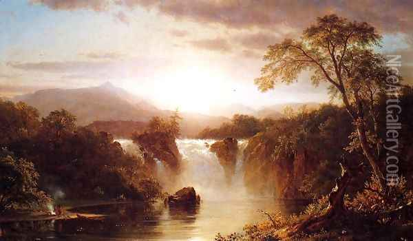 Landscape With Waterfall Oil Painting - Frederic Edwin Church
