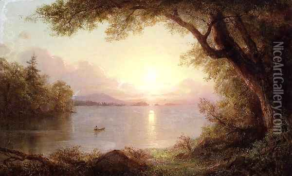 Landscape In The Adirondacks Oil Painting - Frederic Edwin Church