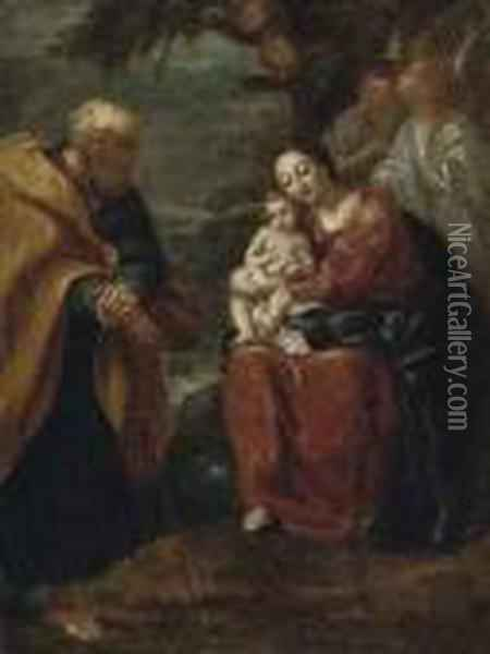 The Rest On The Flight Into Egypt Oil Painting - Giuseppe Maria Crespi