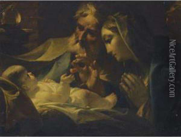 Mary And Joseph Adoring The Christ Child Oil Painting - Giuseppe Maria Crespi