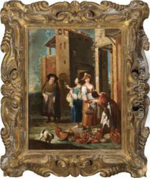 A Street Scene With Women Selling Pots And Flowers Oil Painting - Giuseppe Maria Crespi