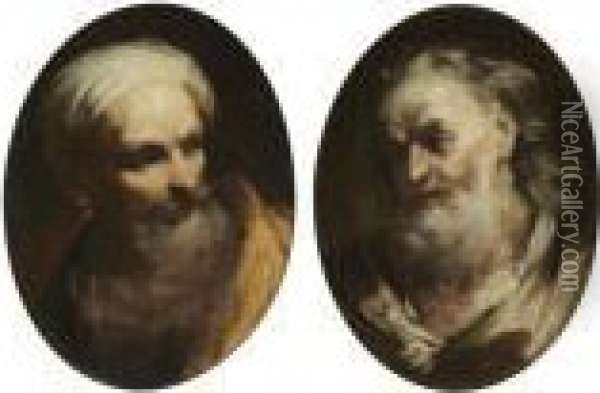 Study Of A Bearded Man, Head And  Shoulders, Wearing A Turban And Looking Right; Study Of An Elderly  Bearded Man, Head And Shoulders, Looking Left Oil Painting - Giuseppe Maria Crespi