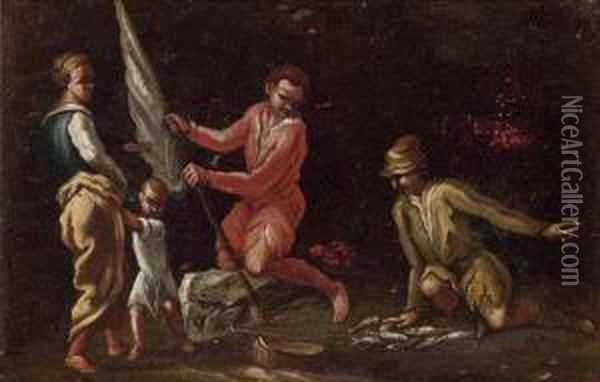 Fisherman With Their Catch Oil Painting - Giuseppe Maria Crespi