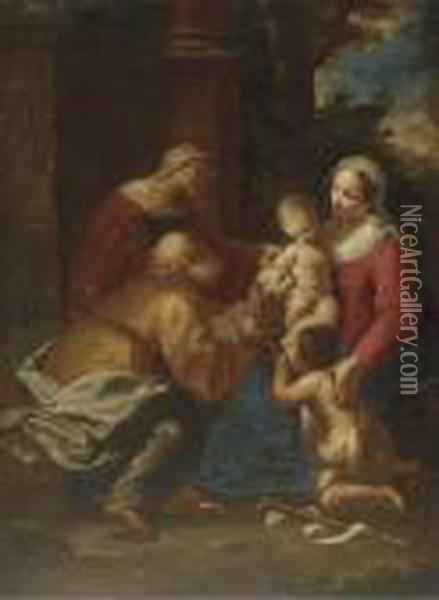 The Holy Family With Saint Elizabeth And The Infant Saint John Thebaptist Oil Painting - Giuseppe Maria Crespi