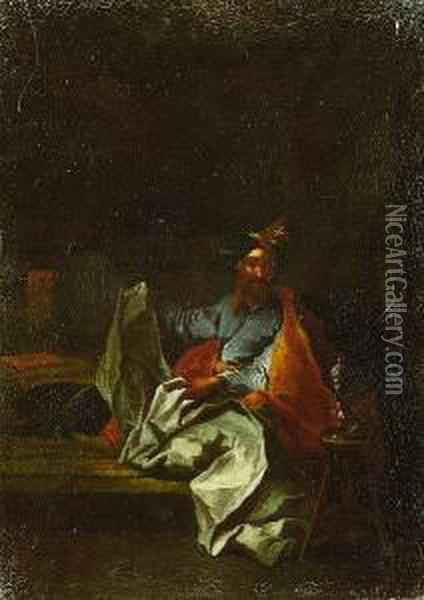 A Turk Seated In An Interior; And A Turk And A Youth With A Dog In A Yard Oil Painting - Giuseppe Maria Crespi