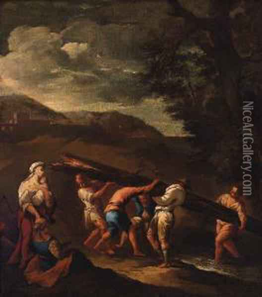 Peasants Carrying A Fallen Tree Across A Stream In Alandscape Oil Painting - Giuseppe Maria Crespi