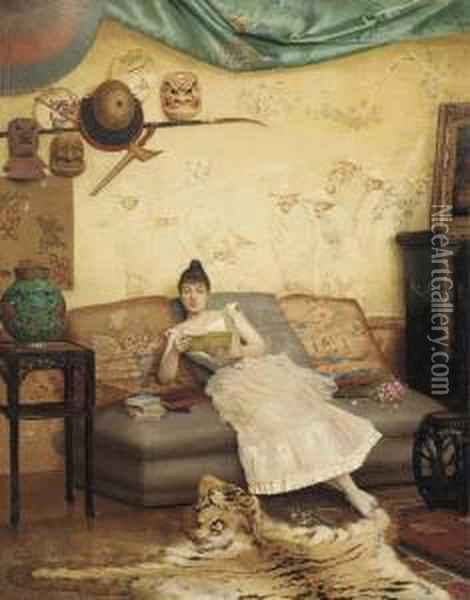 A Quiet Read In A Chinoiserie Interior Oil Painting - Georges Croegaert