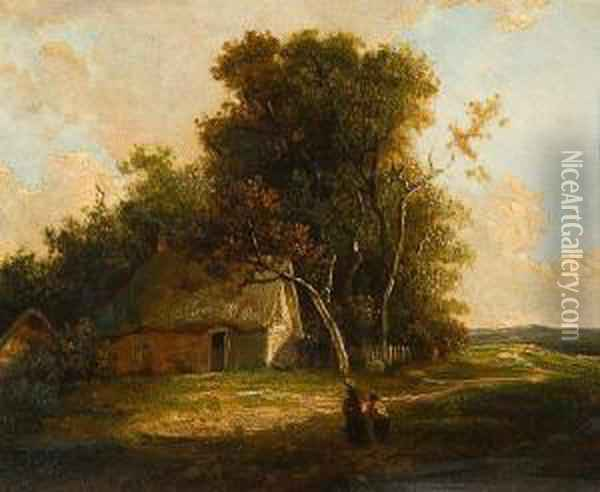 Figures On A Path Before A Cottage Oil Painting - John Berney Crome