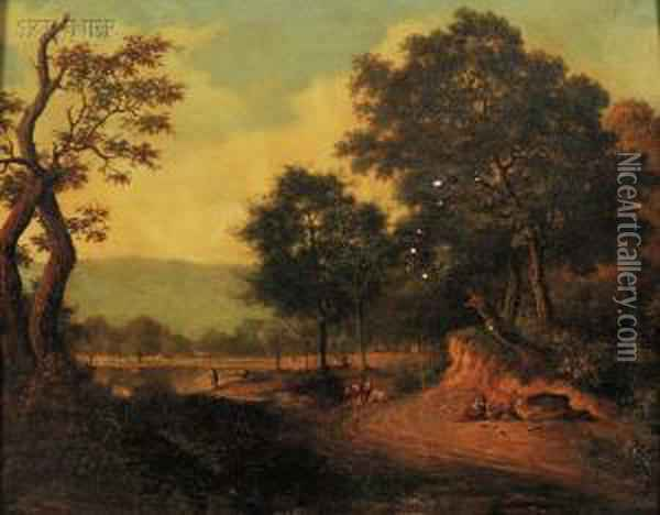 Figures On A Road By The River Oil Painting - John Berney Crome
