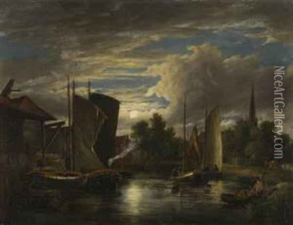 Boats On The River Wensum By Moonlight Oil Painting - John Berney Crome