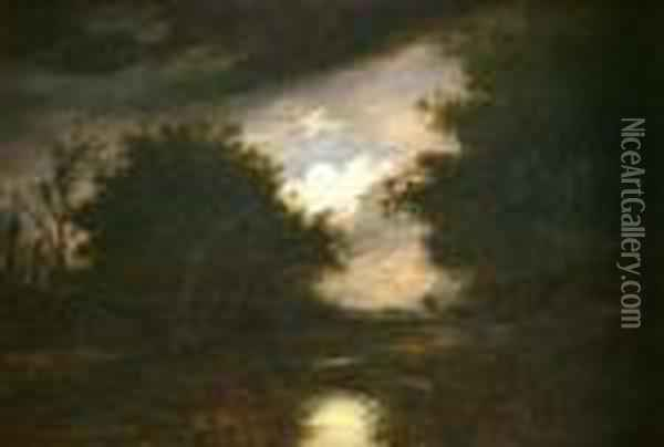 A Moonlight Riverlandscape With Distant Mill Oil Painting - John Berney Crome