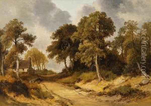 Cottage In A Wood Oil Painting - John Berney Crome