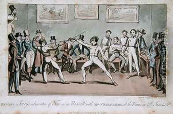 Fencing - Jerry's Admiration Of  Tom In An Assulat With Mr O'shaunessy, At The Rooms In St James's St. Oil Painting - I. Robert and George Cruikshank