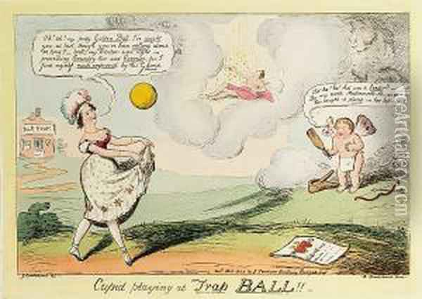 Cupid Playing At Trap Ball!! Oil Painting - I. Robert and George Cruikshank