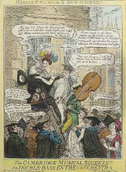 The Cambridge Musical Squeeze!!-or- Double-bass Entre To The Orchestra Oil Painting - I. Robert and George Cruikshank