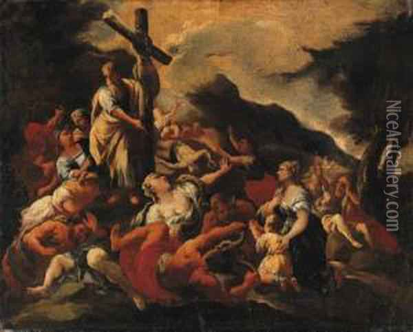 Moses And The Brazen Serpent Oil Painting - Giuseppe Simonelli