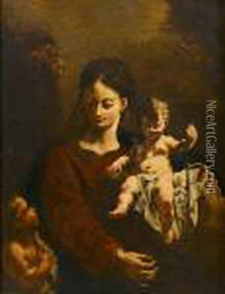 The Virgin And Child With The Infant Saint John The Baptist Oil Painting - Francesco Daggiu Daggiu Il Capella