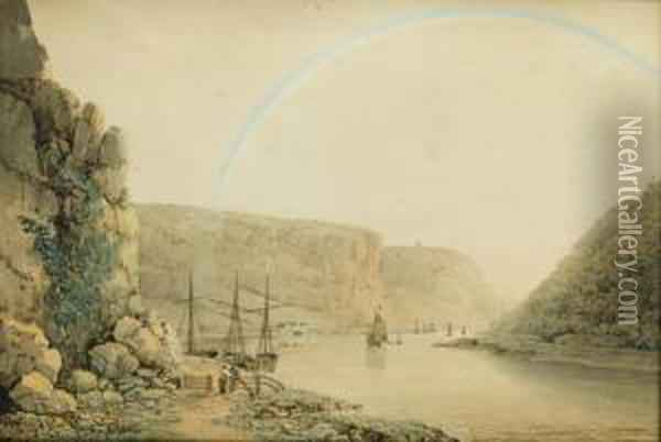 The Avon Gorge From The Stop Gate Below Sea Walls Oil Painting - Francis Danby