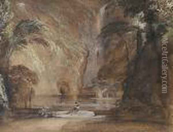 Figure At The Foot Of A Waterfall Oil Painting - Francis Danby