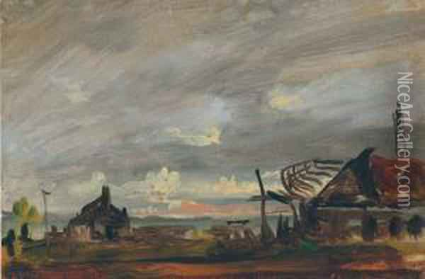 Boat Building Oil Painting - Francis Danby