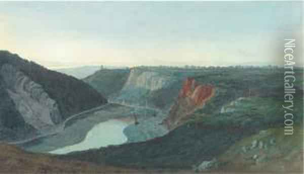 A View Of The River Avon From  Bristol From Below The Observatorywith Seawalls Below And Cooks Folly  Beyond. Oil Painting - Francis Danby