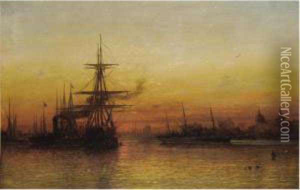 Sunset At Greenwich Oil Painting - Francis Danby