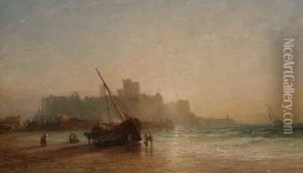 Fisherfolk On The Shore At Lowtide, A Ruined Castle Beyond. Oil Painting - Francis Danby