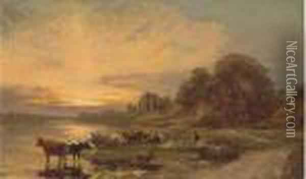 Cattle And A Herder By A River, With Ruins Beyond Oil Painting - Francis Danby