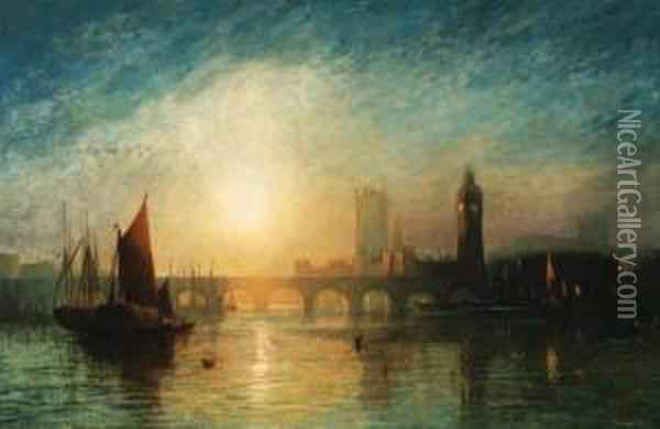 View Of Westminster Bridge And  The Houses Of Parliament, With A Haybarge And Other Shipping In The  Foreground Oil Painting - Francis Danby