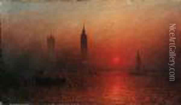 Sunset Over The Thames At Westminster Oil Painting - Francis Danby