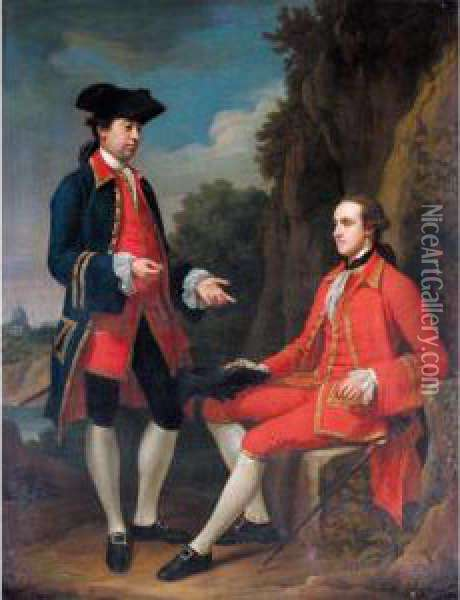 Portrait Of George Henry Grey, 5th Earl Of Stamford And Sir Henry Mainwaring, 11th Bt. Oil Painting - Sir Nathaniel Dance-Holland