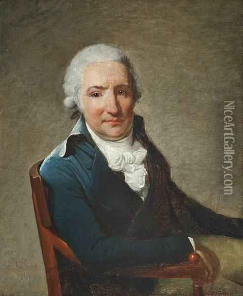 Portrait Of A Gentleman,  Half-length, In A Blue Coat And White Cravat, Seated In An Interior Oil Painting - Henri Pierre Danloux