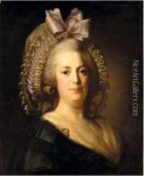Portrait Of A Woman, Head And  Shoulders, Wearing A Black Dress, With A White Bonnet And Pink Ribbon Oil Painting - Henri Pierre Danloux