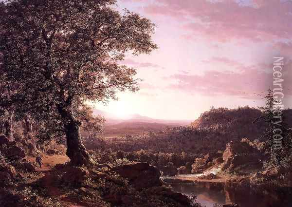 July Sunset Berkshire County Massachusetts Oil Painting - Frederic Edwin Church