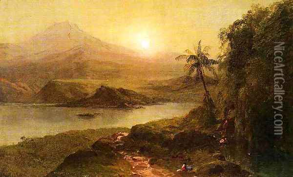 Mountain Landscape with River, Near Philadelphia Oil Painting - Frederic Edwin Church