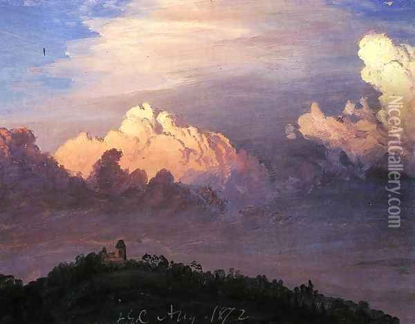 Clouds over Olana Oil Painting - Frederic Edwin Church