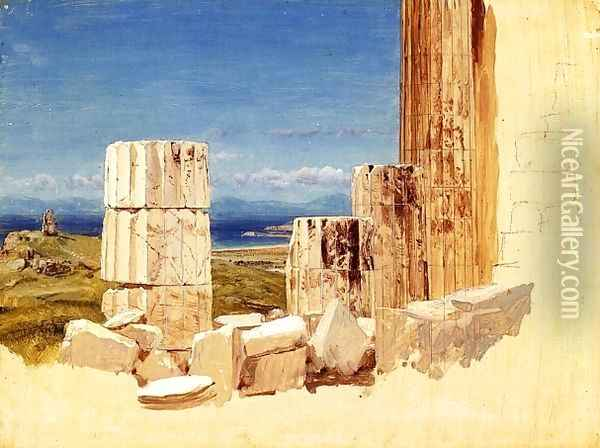 Broken Columns, View from the Parthenon, Athens Oil Painting - Frederic Edwin Church