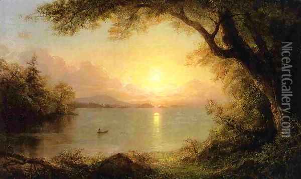 Lake Scene Oil Painting - Frederic Edwin Church
