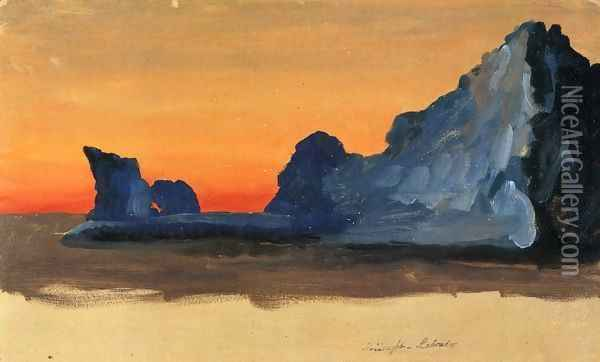 Icebergs at Midnight, Labrador Oil Painting - Frederic Edwin Church