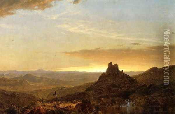 Cross In The Wilderness Oil Painting - Frederic Edwin Church