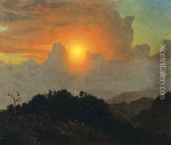 Cloudy Skies, Sunset, Jamaica Oil Painting - Frederic Edwin Church