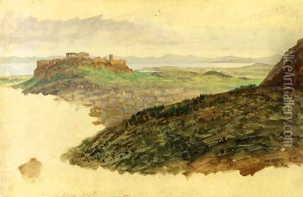View of the Acropolis, Athens Oil Painting - Frederic Edwin Church