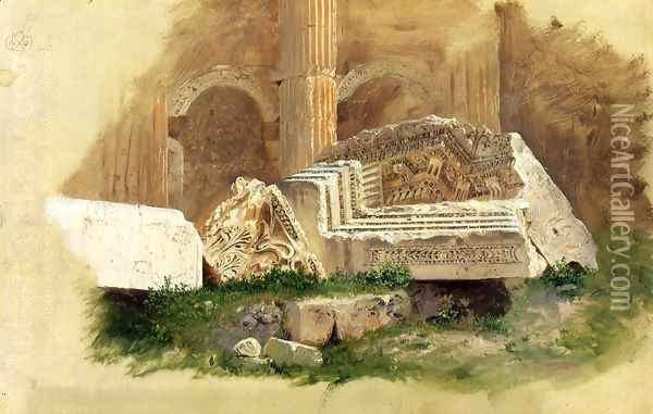 Interior of the Temple of Bacchus, Baalbek, Syria Oil Painting - Frederic Edwin Church