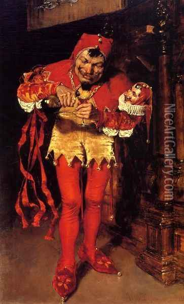 Keying Up - the Court Jester Oil Painting - William Merritt Chase