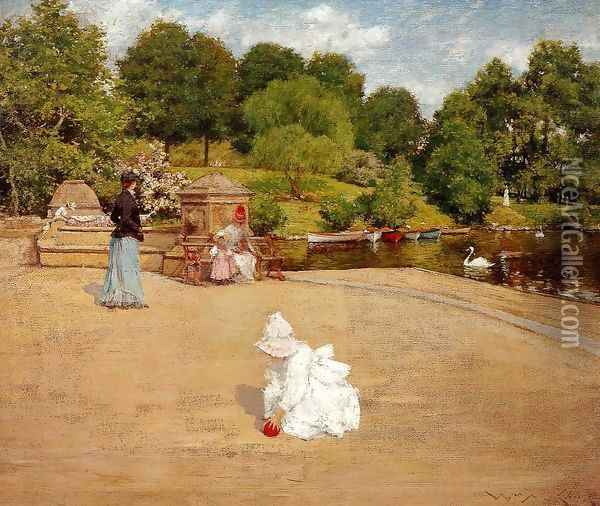 A Bit of the Terrace aka Early Morning Stroll Oil Painting - William Merritt Chase