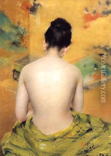 Back Of A Nude Oil Painting - William Merritt Chase